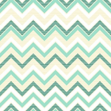 Seamless retro geometric chevron pattern in beige white and turquoise