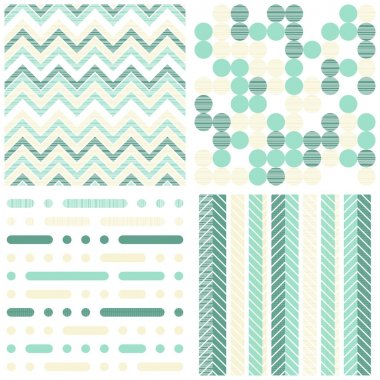 Set of seamless retro geometric paper patterns in turquoise white and beige dots lines and chevron