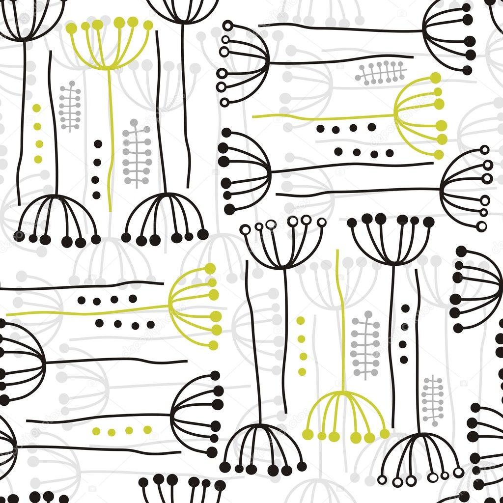 Delicate floral black gray green retro pattern with plants and dots on white background