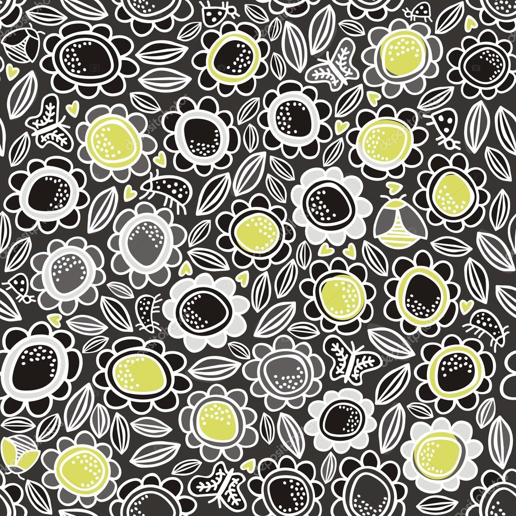 Green gray white meadow on dark background seamless pattern