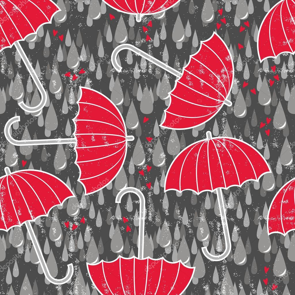 Delicate rain drops hearts and red umbrellas on dark background seamless pattern