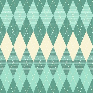 Traditional argyle diamond pattern in turquoise and beige seamless pattern