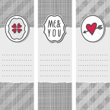 Set of three long valentines day love romantic cards in gray white and red with heart clover me and you sign and pierced heart