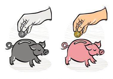 Putting coins/money into saving piggy monochrome and colorful business/finance illustration