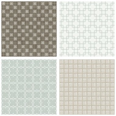 blue beige brown white square cross hatch clover winter colors geometric seamless pattern set of scrapbook backgrounds