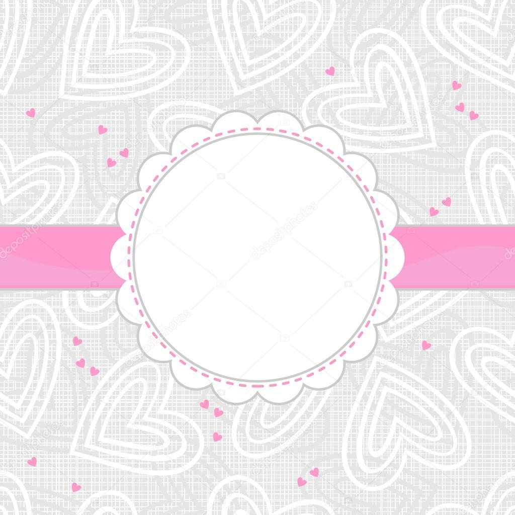 Grenze von weißen und rosa Herzen Licht gemusterten Hintergrund mit ...