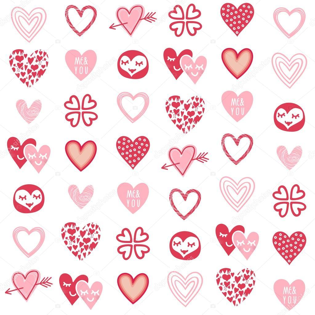 dessins de coeur diff rents rouge rose sur mod le. Black Bedroom Furniture Sets. Home Design Ideas
