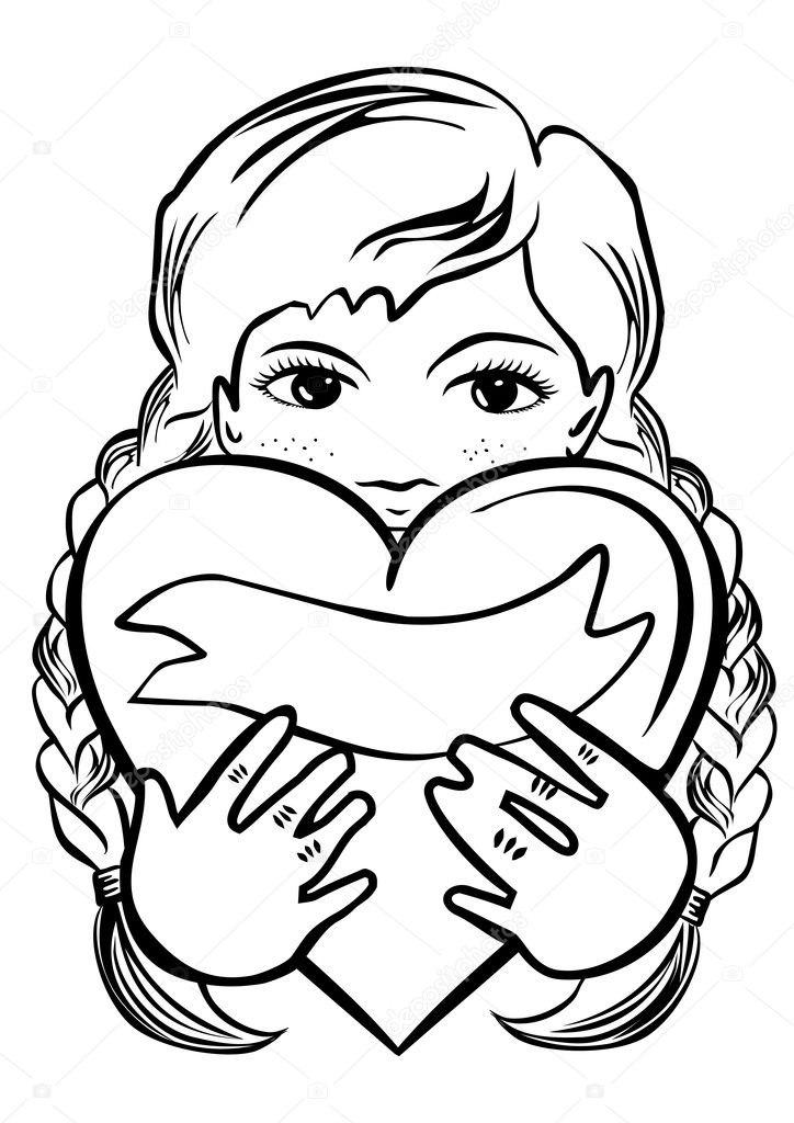 young school preschool girl with long braided hair holding a heart as a gift romantic Valentine's Day Birthday type card monochrome black and white illustration on white background
