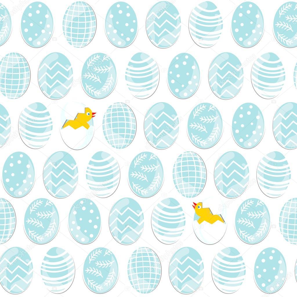 azul con dibujos huevos de Pascua en filas con pollitos en fondo ...