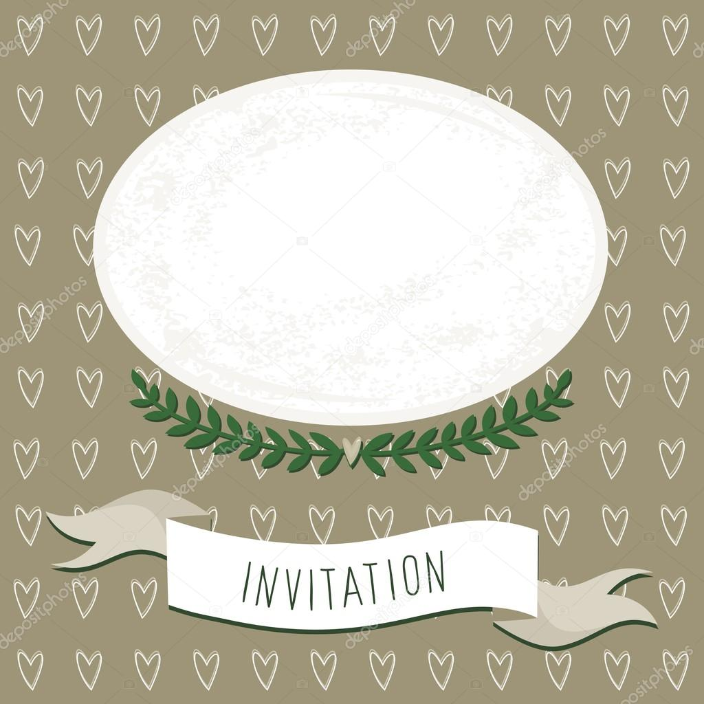 wedding invitation blank card with delicate grunge oval blank ...
