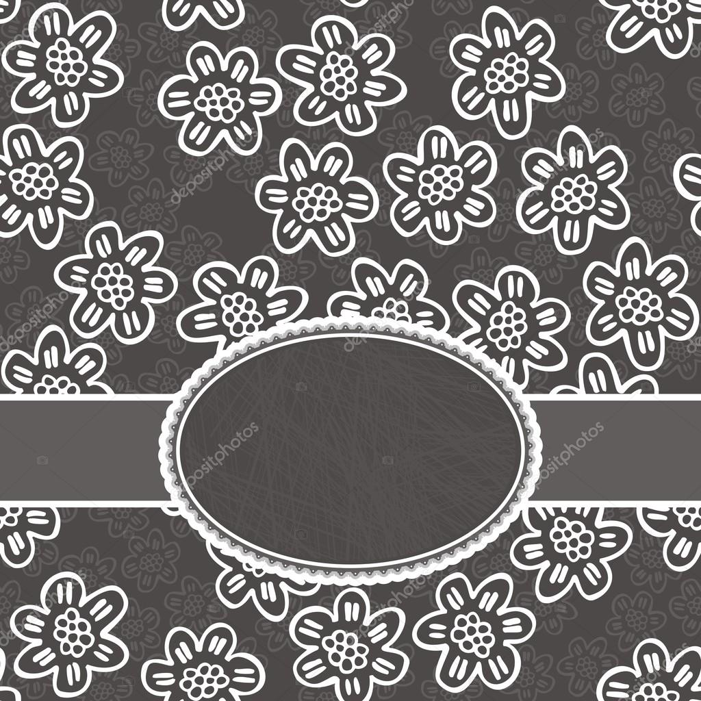 Monochrome White Lace Flowers With Petals With Lines On Dark Gray