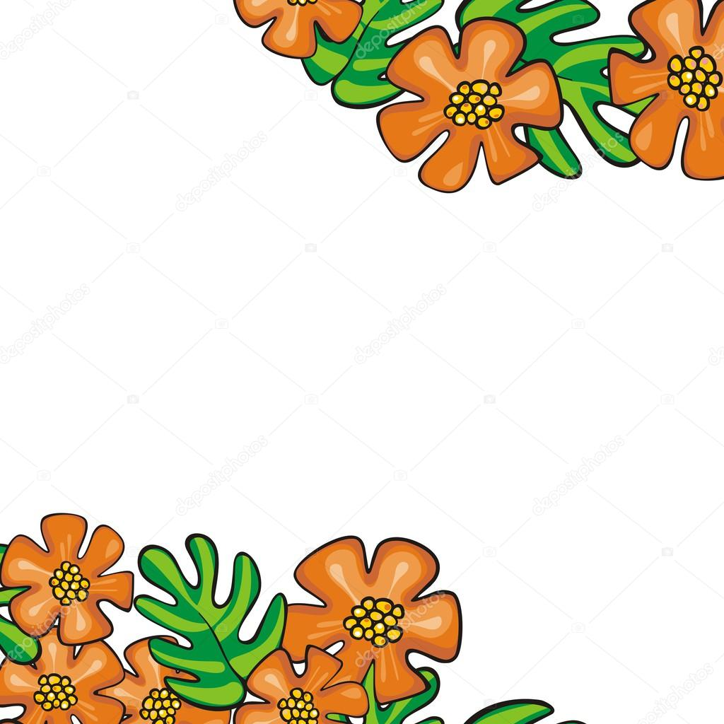 Colorful Wild Exotic Orange Flowers And Green Leaves Isolated On White Cartoon Style Floral Background With