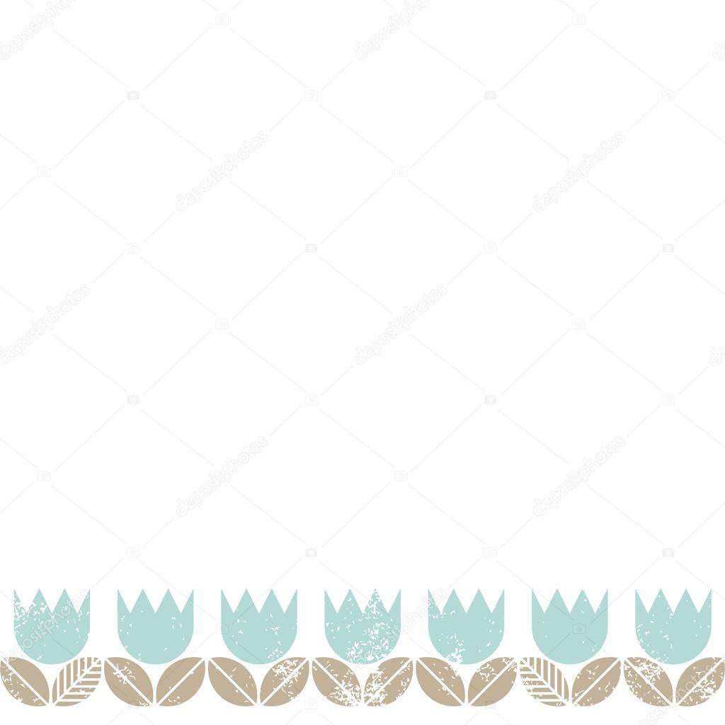 Retro Błękitne Tulipany Z Beżowym Pozostawia Białe Tło