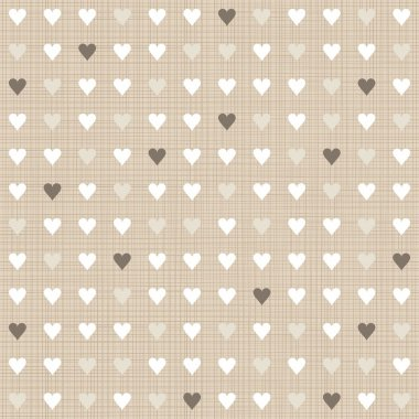 Delicate light little hearts regular geometric elements in rows on beige background seamless pattern