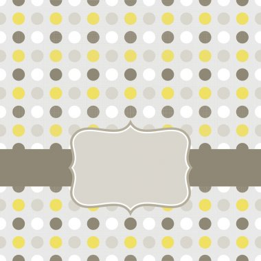 Colorful beige brown yellow white dots in regular rows geometrical seamless pattern on gray background with retro frame on dark ribbon scrapbook card background