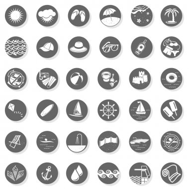 36 seaside beach summer holidays monochrome gray little button set with light shadow on white background vector isolated elements
