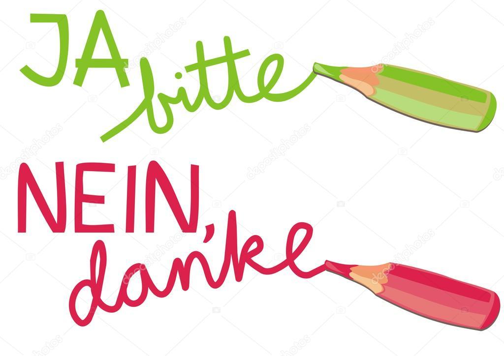 Crayons De Couleur Colorés Verts Oui Svp Ja Bitte Rouge Sans Merci
