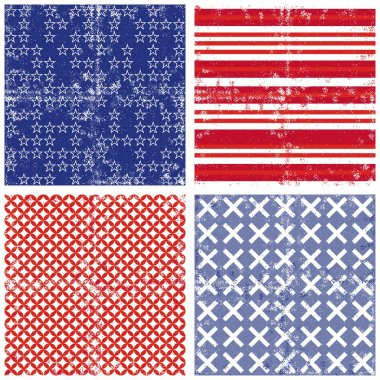 Blue red white star stripe cross geometric elements in horizontal rows grunge seamless pattern decoration background set