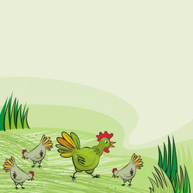 Chicken farm green hens free run on sunny summer day animal wildlife illustration on green background