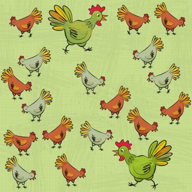 Chicken farm green and brown hens free run on fresh grass on sunny summer day animal wildlife illustration on light green background