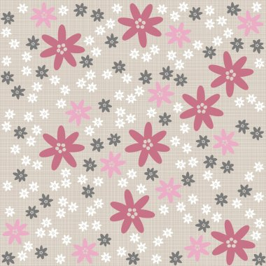White pink gray blue dotted flowers on light background romantic floral seamless pattern