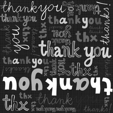 Thank you gray black white hand written announce on dark background graphic typographic seamless pattern