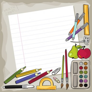 Blank piece of ruled paper with different school tools around colorful education background