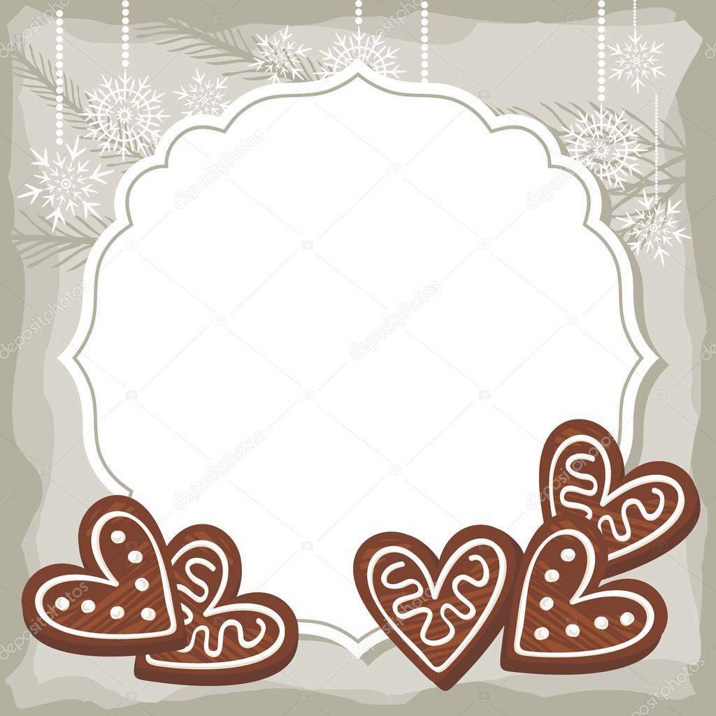 Süße herzförmige Pfefferkuchen auf Vintage Rahmen weihnachten Winter ...