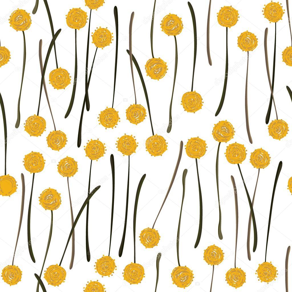 Messy billy balls craspedia beautiful yellow flowers on white messy billy balls craspedia beautiful yellow flowers on white background botanical seamless pattern stock vector mightylinksfo