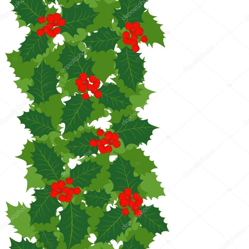 Green Holly Leaves And Red Berries On White Background Christmas Winter Holiday Seamless Vertical Border