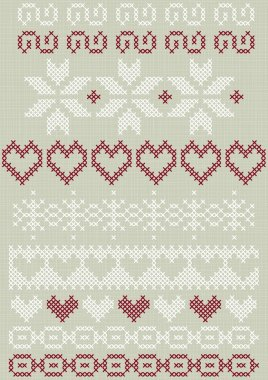 Christmas Valentine's Day winter holidays stitched embroidered white red gray border decorative elements set on light background