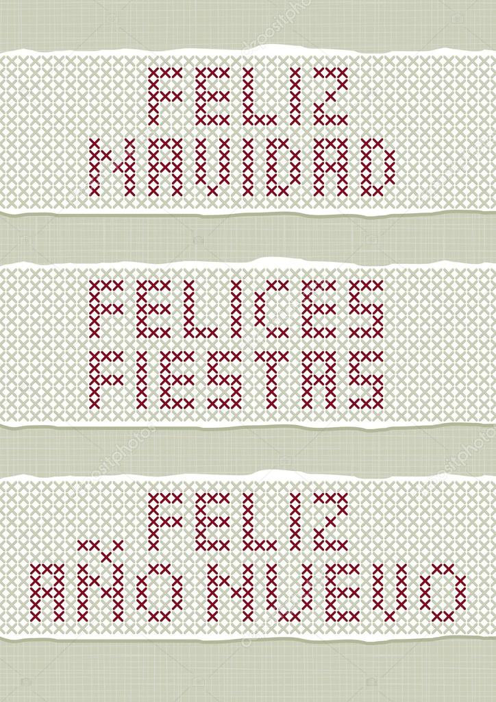feliz navidad felices fiestas feliz ano nuevo spanish christmas new year wishes stitched embroidered red gray