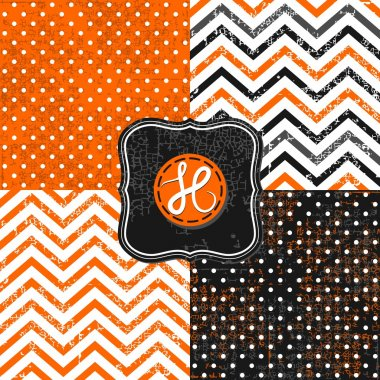 Little polka dots and chevron black white orange holiday Halloween backgrounds set with vintage frames