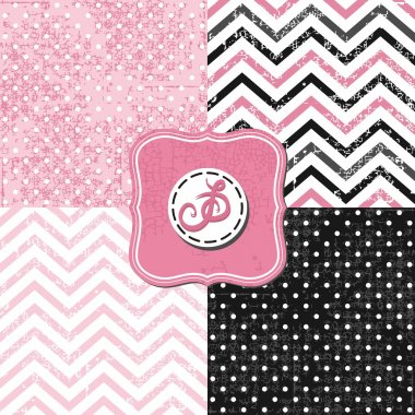 Little polka dots and chevron black white pink gray geometric crackle backgrounds set with vintage frames