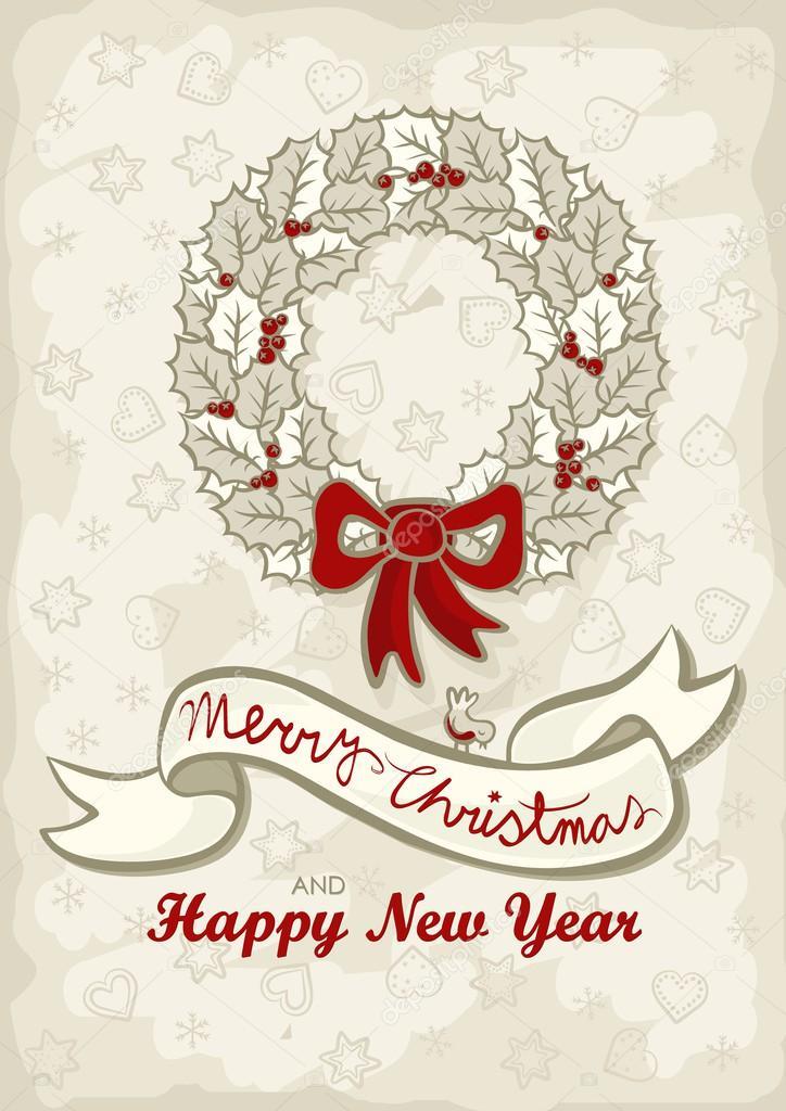 Monochrome schöne Weihnachten Kranz Beige Holly verlässt und roten ...