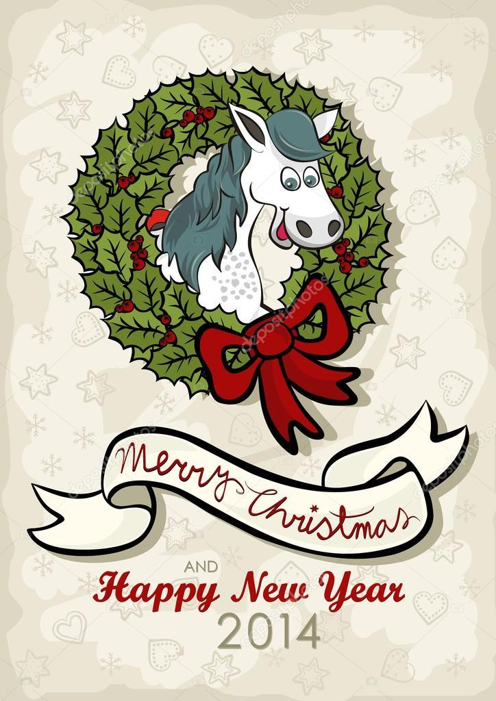 glückliches Pferd Chinesisches Sternzeichen in Weihnachten Kranz ...
