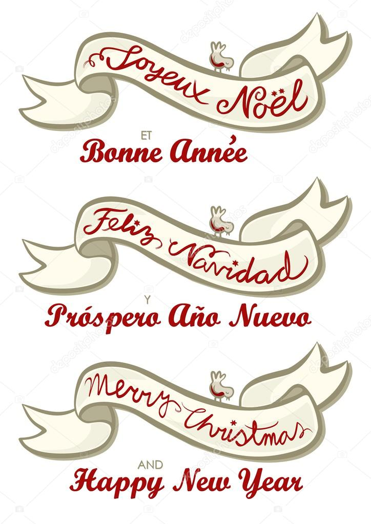 english french spanish merry christmas and happy new year winter holidays wishes written on a ribbon