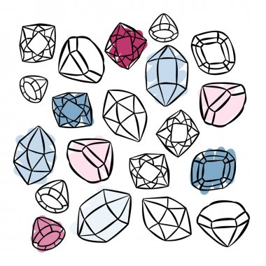 Colorful beautiful shining crystals diamonds precious stones beauty fashion illustration isolated elements on white background