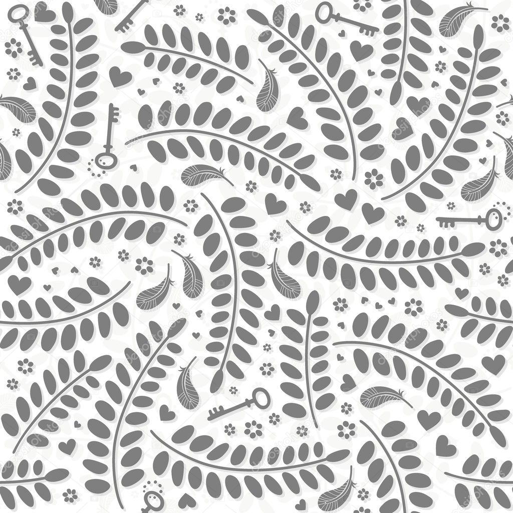 Monochrome little hearts flowers leaves keys and feathers delicate lovely messy elements on white background romantic wedding engagement Valentine's Day seamless pattern