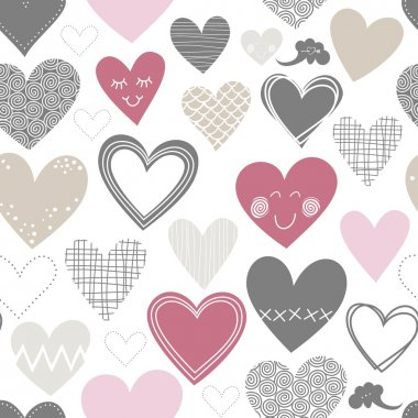 Beautiful colorful different shaped hearts on white background Valentines Day lovely romantic marriage engagement seamless pattern