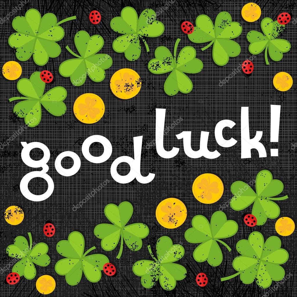 Good luck wishes on green clover meadow with little ladybirds and golden coins shamrock St Patrick Day holiday spring card illustration on dark gray background