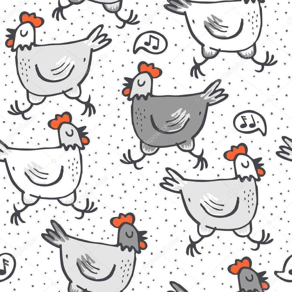 las gallinas canto blanco gris correr animales silvestre de patrones ...