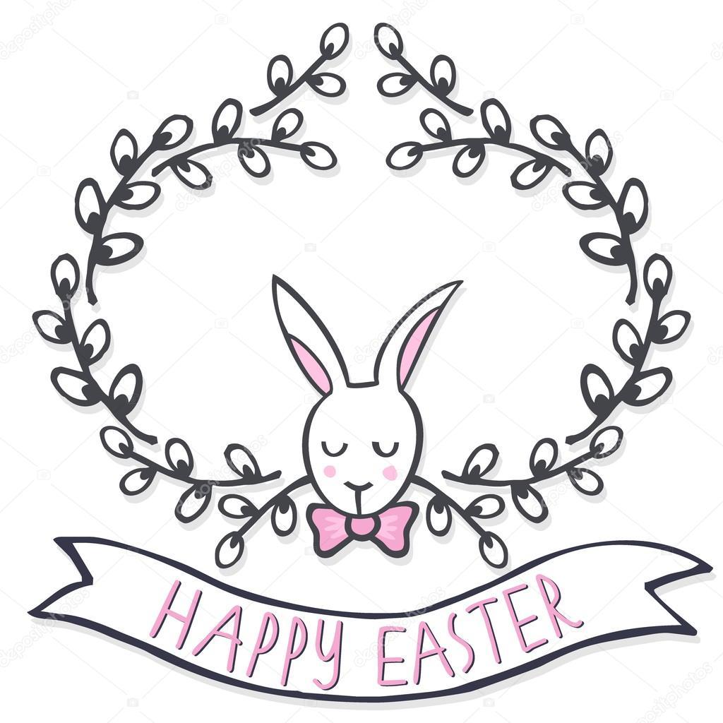 Bianco elegante coniglietto in salice ghirlanda primavera for Centrotavola in inglese