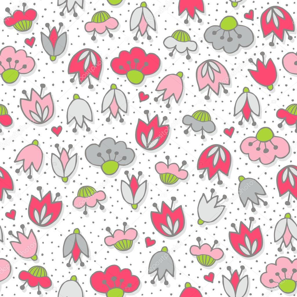 Messy different colorful pink gray flowers and hearts  on white background with little dots retro romantic botanical seamless pattern