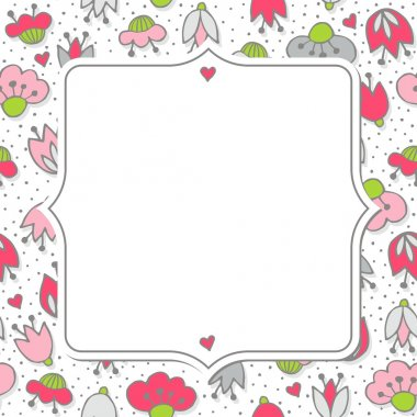 Messy different colorful pink gray flowers and hearts on white background with little dots retro romantic botanical seamless pattern with retro shaped frame with place for your text greeting card