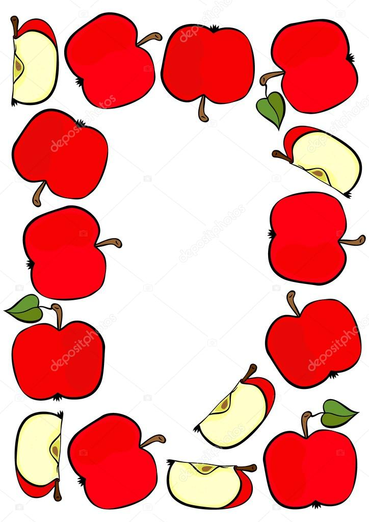 Delicious ripe red apples fruit frame isolated on white background colorful illustration
