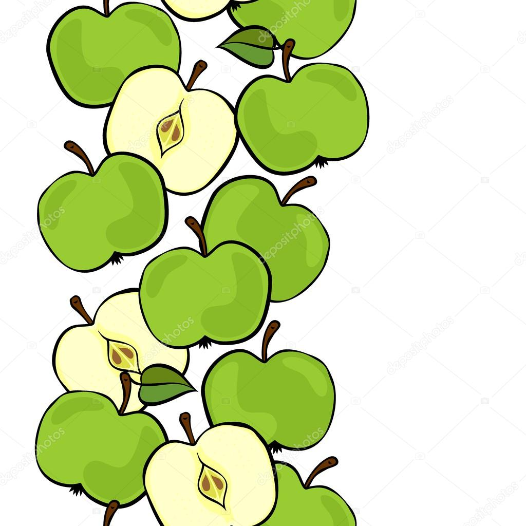 Delicious ripe green apples isolated on white background colorful fruit seamless vertical border
