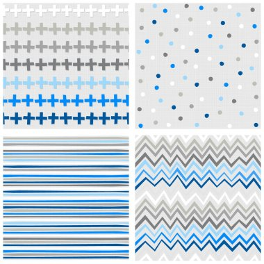 Set of white gray blue vector seamless patterns with crosses dots stripes and chevron  on light background