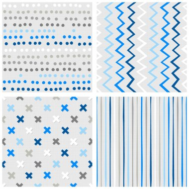 Set of white gray blue vector seamless patterns with dots chevron crosses and stripes on light background