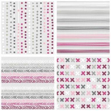 Set of white gray pink vector seamless patterns with dots stripes chevron and crosses on light background